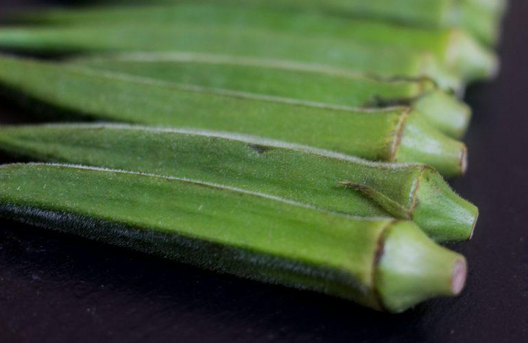 Row of okra