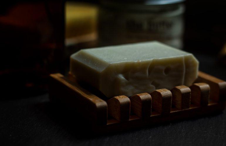 Bar soap on bamboo dish
