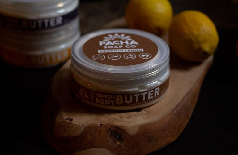 Pacha Soap Body Butter on wooden board